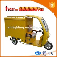firm durable motorized tricycle with big cargo cabin
