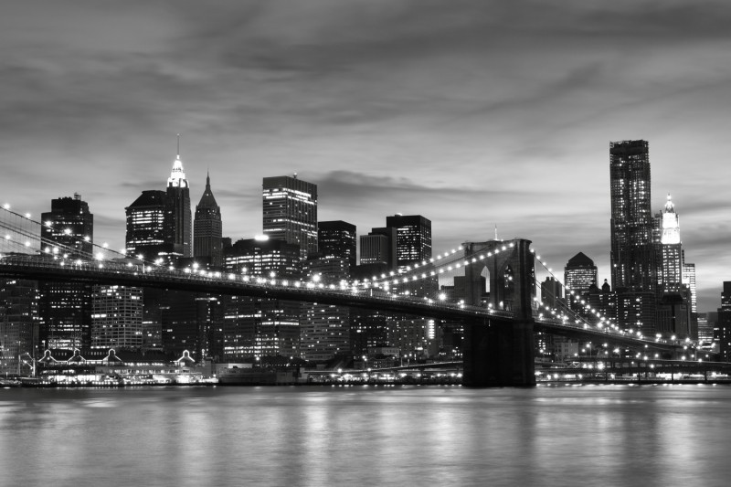 Wallpaper roll new york brooklyn city black white embossed for New york wallpaper rolls