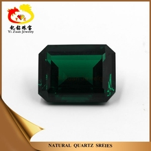Synthetic large stock rectangle cut corner shaped step green corundum