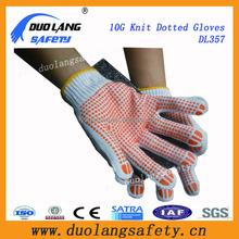 Nylon and white glass fiber liner cut resistant pvc dots glove