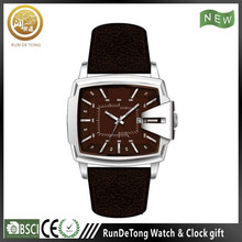 New design stainless steel square case date movement genuine leather strap lover watch