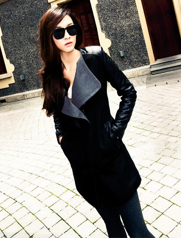 Veste en cuir et tissu femme