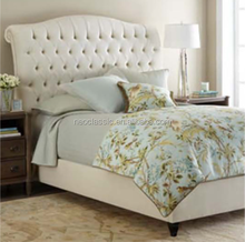 Elegant French Romantic Double Bed Designs with Buttons Headboard