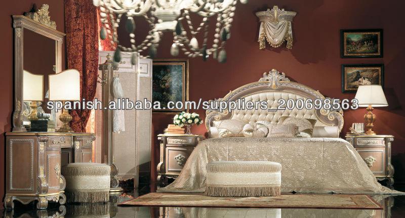 Muebles de dormitorio de lujo,europeo juego de cama clásica,tallado a