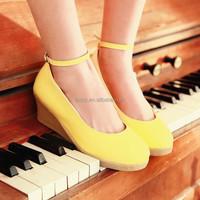 Stylish yellow wedge round toe sweet ladies doll shoes wholesale