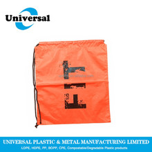 Small size plastic colored drawstring bag