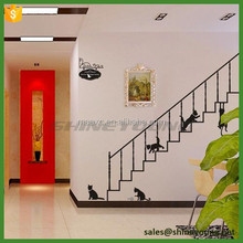 PVC home decor wall sticker cat and stairs