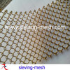 Metal golden mesh curtains, carbon steel wire coil fabric, metal wire mesh drapery