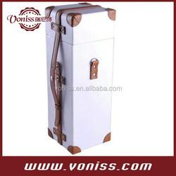 Single Bottle Elegant Wine Bag Carrier Tote Leather Strap, Wine Bottle Holder, White Color