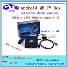 2gb 8gb android smart tv box M8 quad core with Kodi XBMC