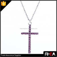 High Quality Polish and Plated Craft Pink Crystal Alloy Cross Necklace