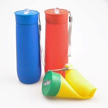 2014 Shenzhen Light Portable Silicone Foldable Water Bottle Sport Products