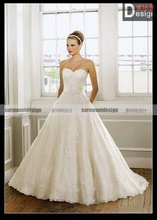 Classic elegant sweetheart A-line lace Floor Length Ruffle wedding dresses fashion 2012