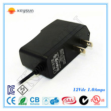 12 Volt 1 Amp Power Supply AC to DC 2.5mm X 5.5mm Plug Regulated UL 12v 1a Power Adapter Wall Plug