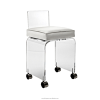 Small Acrylic Lucite Perspex Vanity Stool with Wheels and Cushion - Rolling Stool