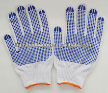 4 yarn cotton working gloves with black PVC dotted in one side for Brazil