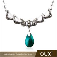OUXI Korean style multicolored stone thai silver necklace G10007