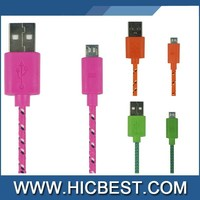 1M 2M 3M textile Fabric micro usb cable nylon braided cable for phone charge cord