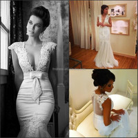 2015 Hot Sell Berta Mermaid Lace Applique Pluging V Neck Sexy Wedding Dresses For Bridal FMG13