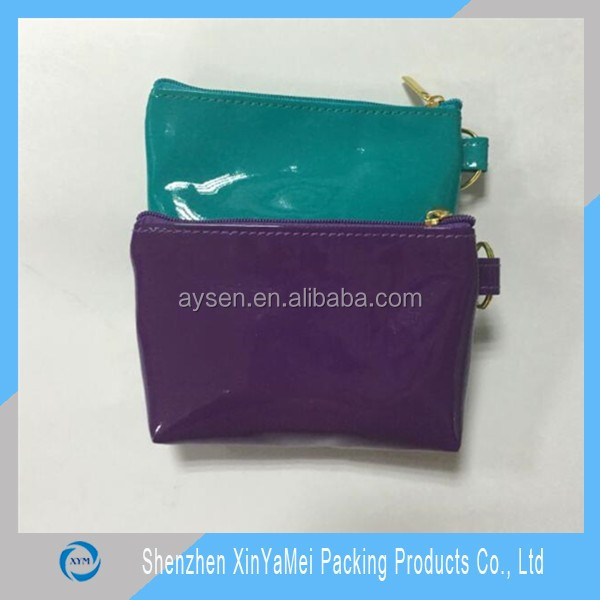 glossy pvc bucket purse and cosmetic bag set