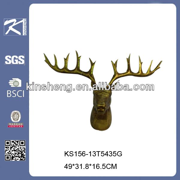 brillo de oro de metal artesanía casa de ciervos de navidad decoración