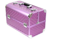 grain aluminum beauty case with makeup aluminum tool case with number lock