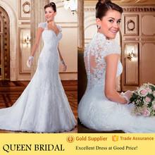 2015 Latest vestido de noiva Lace Appliqued Back Alibaba Cap Sleeve Mermaid Wedding Dress