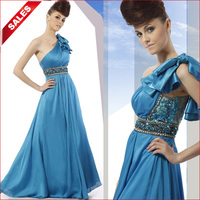 Coniefox 80013 Royal Blue One shoulder Beaded Sash Bridesmaid Gown