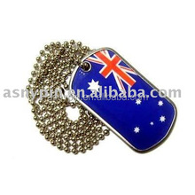 Hot selling country flags ID Dog Tags with Ball Chain Necklace, austrilia, USA, American, Canada