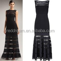 winter long maxi gown sleeveless Mesh insert bandage dress in black H428