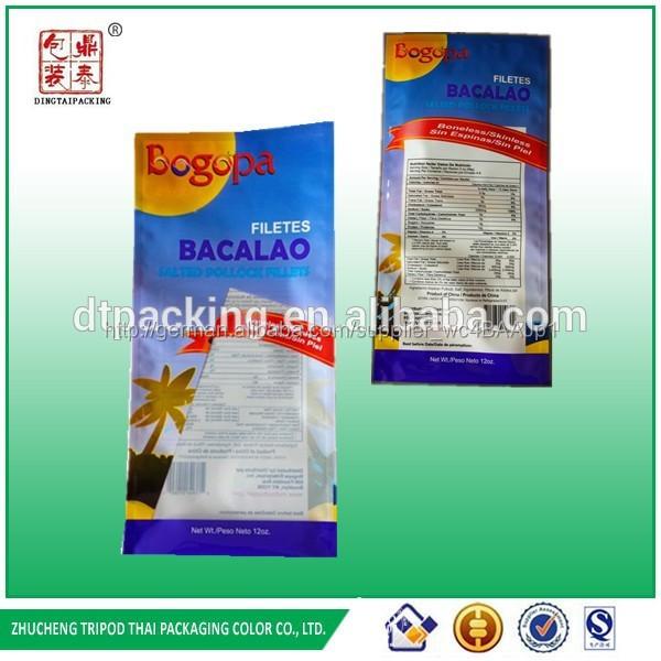Bacalao filetes kunststoff flexile verpackung haustier/cpp heißsiegel beutel für meeresfrüchte verpackung