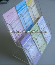hot sale 6 pockets L shaped clear 2 tiersacrylic flyer display stand Shenzhen factory