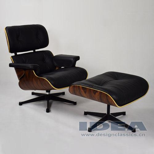 R plique charles eames chaise longue et pouf en cuir noir for Chaise eames replique