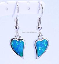 Pink Opal Wholesale 925 Sterling Silver Heart Dangle Earrings