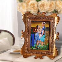 """Acrylic Resin photo picture frame 4""""x6"""" gold square 0.4kg BY001"""
