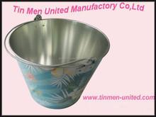 Fashion round ice tin bucket with handle