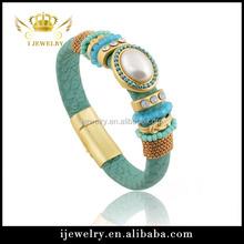 2015 new magnetic clasp rhinestone bangle bracelets leather bracelet braided