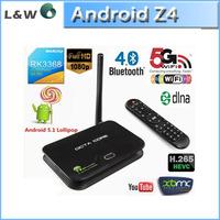 Z4 Android 5.1 TV Box RK3368 64bits Octa core 2GB/16GB bluetooth 4K*2K 1080P 2.4G/5G WIFI better than mxq,m8s,i68,mxiii-g,cs918
