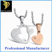 Two Love Hearts Stainless Steel Pendant Couple Necklace Fashion Jewelry Necklace