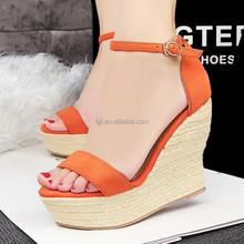 Summer Brand ladies Shoes Luxury Designer Hemp Rope Multi Colored Heels PU leather sexy Platform Wedge Sandals