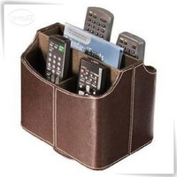 Media Storage Faux Leather Spinning Remote Control Organizer - Brown