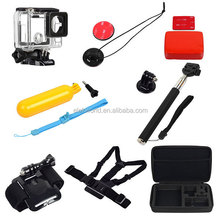 8-in-1 Housing Case+Chest Strap+Wrist Strap+Mounts+Monopod+Floaty Grip+Bobber Sponge+Bag for GoPros Heros 4/3+/3/2/1