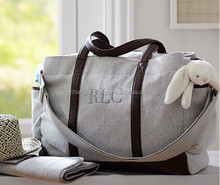 Fashion waxed canvas Fashion cotton canvas Genuine leather mummy Diaper Bag wholesaler