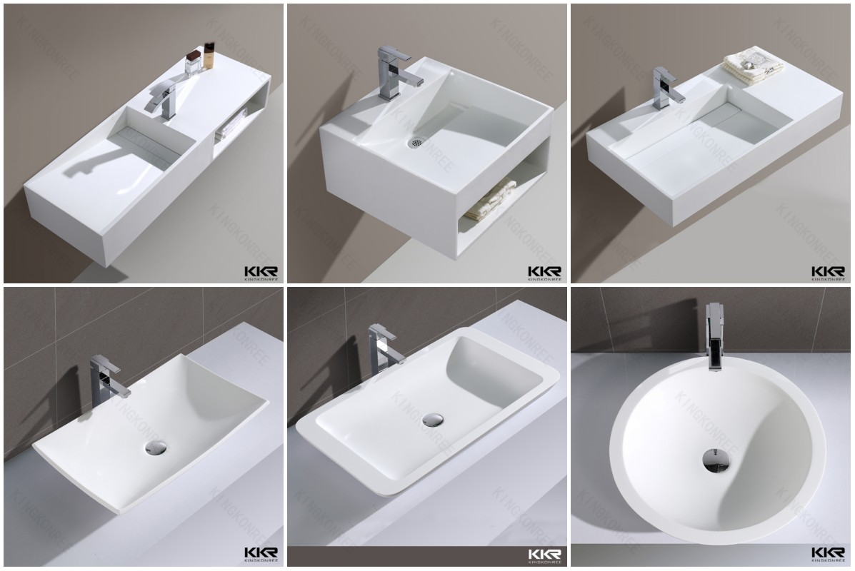 Modern design solid surface double bathroom sink buy for Double bathroom sink basin
