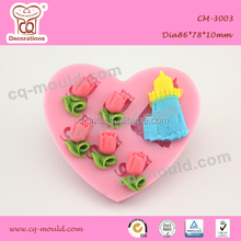 castle and rose series pink color fondant cake mold