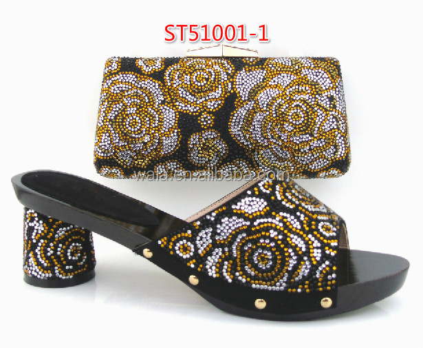 African Black Shoes And Matching Clutch Bag With Stones For Lady St51001-1 - Buy African Shoes ...