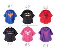 Wholesale 2015 new popular polyester waterproof super hero kids raincoats