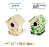 educational wooden indoor bird house toys for children