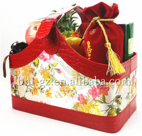 Handcrafted PU Leather holiday gift basket decoration basket wine carrier holder with handle flower fruit basket gifts L21-23