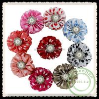 IN STOCK 2.5'' Chevron Chiffon Flowers Sew With Rhinestone Center Boutique Baby Girls Ballerina Flower Accessories